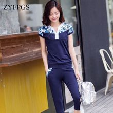 ZYFPGS 2019 Two Piece Set Women Summer Tops Tracksuit For Fitness Slim Womens Print Popular Design 4XL Z0712