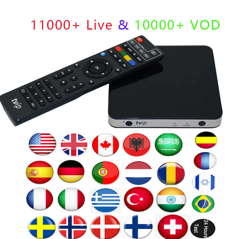 Best Tvip 605 Amlogic S905X Quad  Smart TV Box with iptv service USA Arabic French Germany  Albania India Spain Sweden Africa