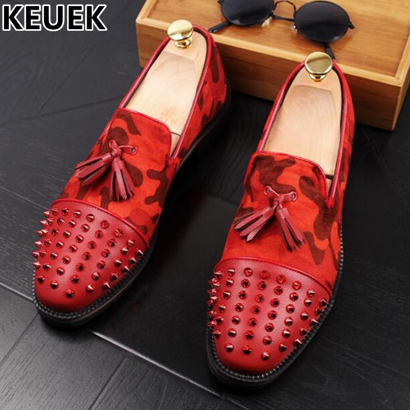 Rivet Pointed toe Male Personality Tassel shoes Split Leather Breathable Casual Slip-On Flats Fashion Youth popular Loafers 03 pointed toe tassel leather shoes men slip on brogue shoes flats british style rivet shoes casual loafers chaussure homme 022