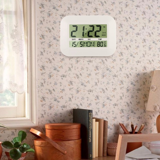 Big Number Large LCD Digital Wall Clock Table Watch Nixie Electronic Desk Alarm Clock with Temperature Snooze Calendar Bedside