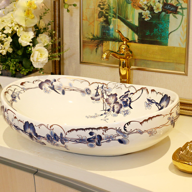 high quality ceramic sanitary wash basin art basin Oval Blue Bell Counter Top Wash Basin Bathroom Sinks