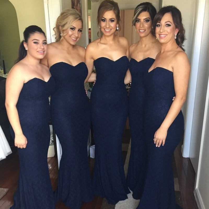Hot Dark Navy Blue Sweetheart Lace   Bridesmaid   Gowns Ivory/Champagne/Silver/Hunter/Pink/Red Lace   Bridesmaid     Dresses   Fast Shipping