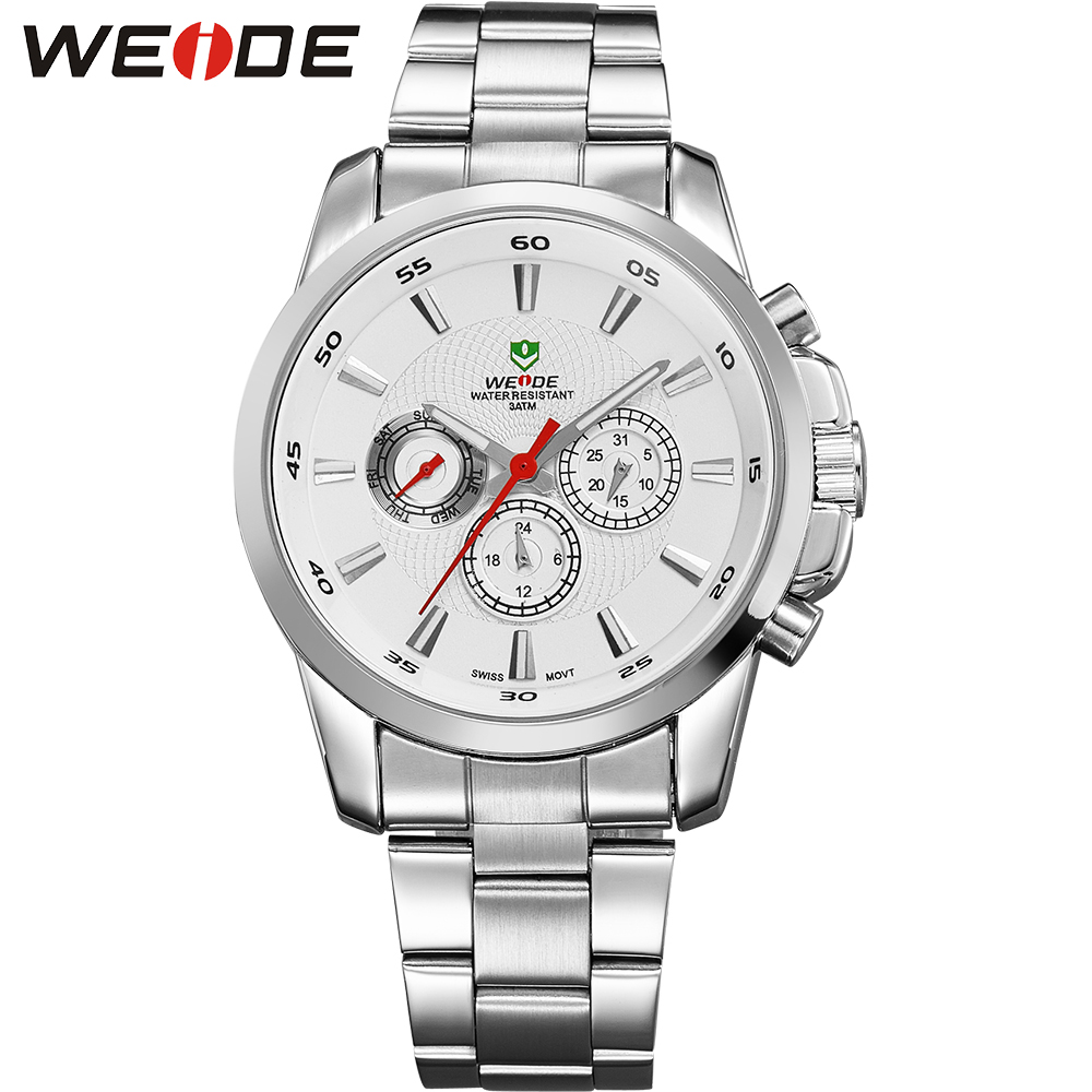WEIDE Mens White Dial Watches Full Stainless Steel 30m Waterproof Quartz Move'tQuartz Watch Double Time Business Gifts For Men  pure white dial face ziz time watches navy