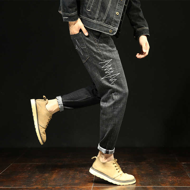 2018 Spring Distressed Streetwear Hiphop Harem Jeans Men Denim Trousers Casual Fashion Loose Hip Hop Patchwork plus