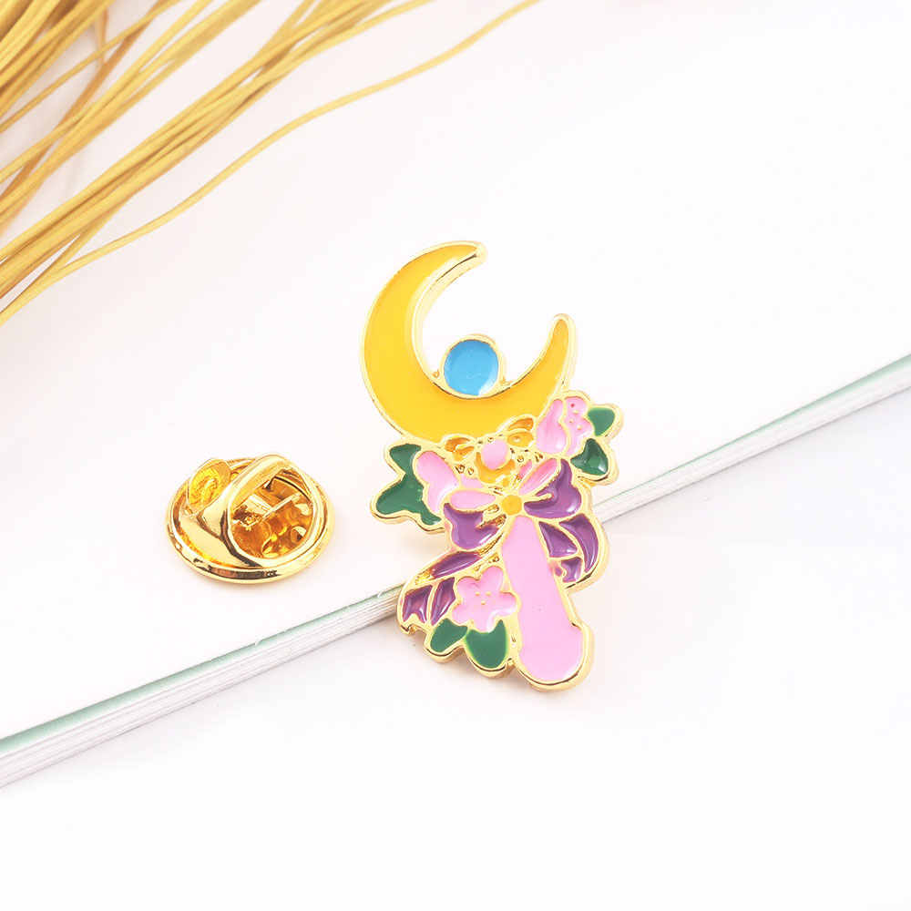 Tsukino Usagi Moon Stick Flowers Pins Brooches Sailor Moon Enamel Brooch for Women Kids Lapel Pin Jewelry Gift