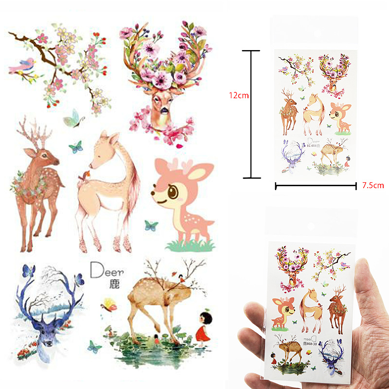 Body Art Waterproof Temporary Tattoos Paper For Children And Women Lovely Cartoon Deer Design Small Tattoo Sticker