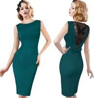 LE CELEBRE Ren Bông Bút Chì Dress Hollow Ra Lại Phụ Nữ Ăn Mặc 2018 Jewel Cổ Bên Váy Vestido Đỏ Tím Màu Xanh Lá Cây