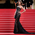 SexY Strapless See Through Lace Applique Formal Sequin Evening Gown Cannes Film Festival Red Carpet Celebrity Dresses 2017 CN-2