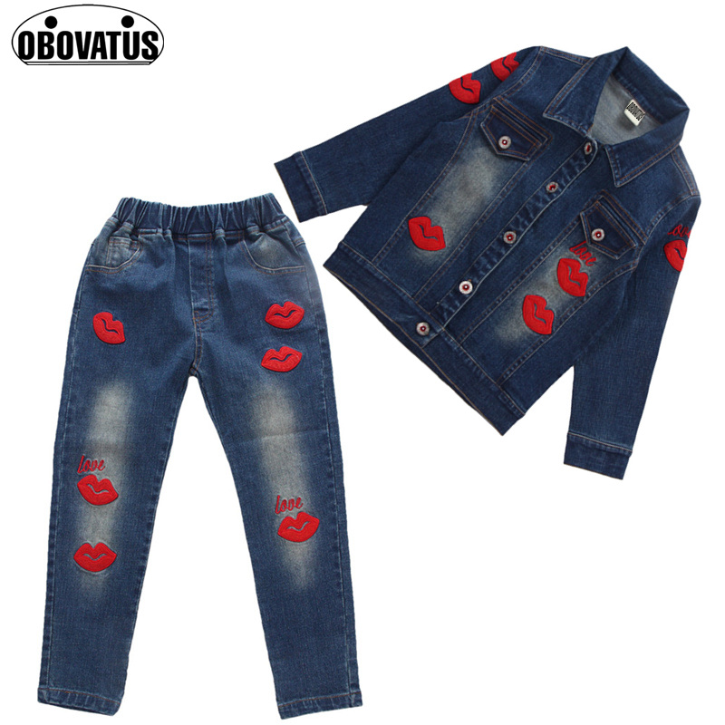 Girls 2017 new Spring fall Style Red lips cowboy suit casual children clothing set Denim jacket + Jean pant two-piece denim set children s clothing spring high quality cowboy three piece suit of the girls flowers fashion baby suit denim set for infants