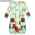 Chidren Clothing 2017 Fashion Spring Autumn Toddler Girls Clothing Set Coat+Dress Cotton Floral Printed Princess Girls Outfits