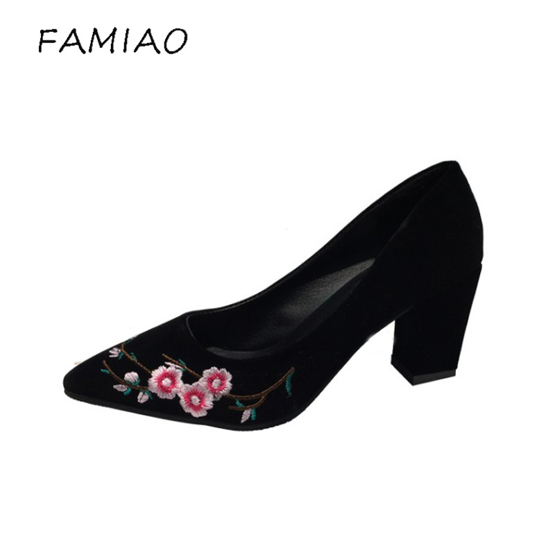 FAMIAO women pumps flower  black high heel shoes women chaussure femme talon scarpe donna party shoes ladies flock shoes 2017 2016 red womens pumps chaussure femme cheap shoes for women real image fashion custom made ladies party evening shoes hot