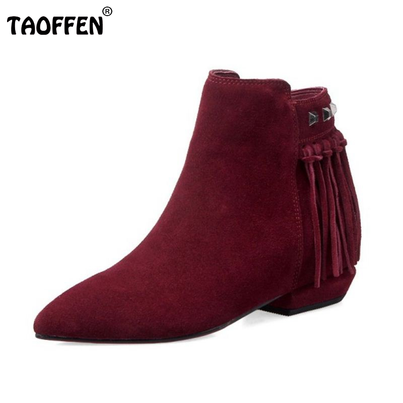 Women Real Leather Pointed Toe Ankle Boots Autumn Winter Woman Flat Botas Brand Tassel Zipper Footwear Shoes Size 33-43 women round toe ankle boots woman fashion platform wedge botas ladies brand suede leather high heel shoes footwear size 34 47
