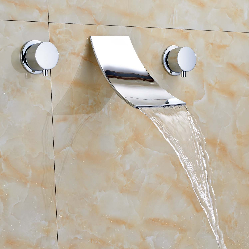 цены на Newly Wall Mounted 8 Widespread Waterfall Polish Chrome Hot&Cold Water Faucet Mixer Tap Faucet
