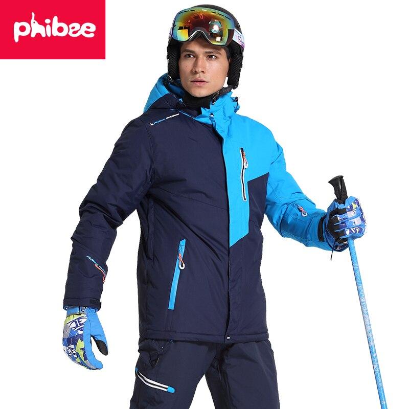 Phibee Men Ski Jacket Winter Snowboard Suit Men's Outdoor Warm Waterproof Windproof Breathable Clothes winter outdoor men and women couple waterproof breathable jacket 3in1 warm winter clothes