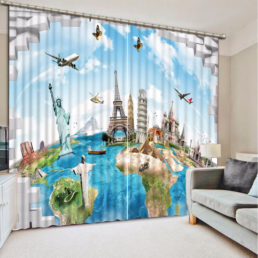 Fashion Customized Home Bedroom Decoration 3D Curtain World Scenery Curtains For Bedroom Blackout Shade Window Curtains