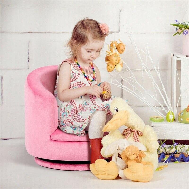 Toddler Children Single Cute Beautiful Rotating Sofa Eucalyptus Wood And Soft Flannel 360-degree Rotatable Body Kid Sofa HW61183