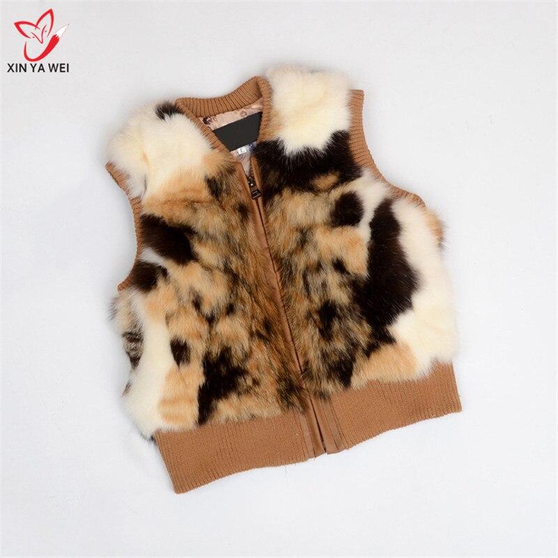 ขนสัตว์กระต่ายจริงเสื้อกั๊กเด็กผู้หญิงแจ็คเก็ต 2018 ใหม่ฤดูหนาว Thicken Grils Boys Leopard Cat skin เสื้อกั๊กเด็ก Outerwear Coats-ใน ขนสัตว์จริง จาก เสื้อผ้าสตรี บน   2