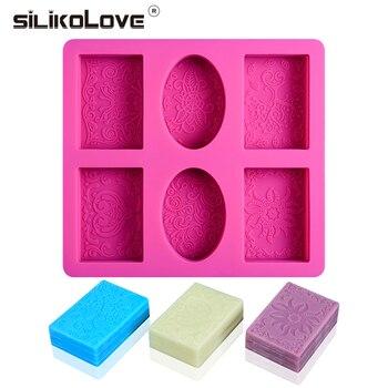 SILIKOLOVE 6 Cavità Rettangolo Ovale Muffa Del Sapone Del Silicone Mestiere di fabbricazione del sapone 3D Disegno Fatto A Mano FAI DA TE Stampo In Silicone