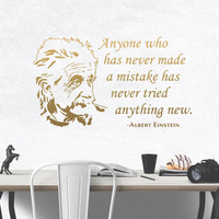Fun Albert Einstein Wall Stickers Self Adhesive Art Wallpaper For Kids Room Decoration Art Mural