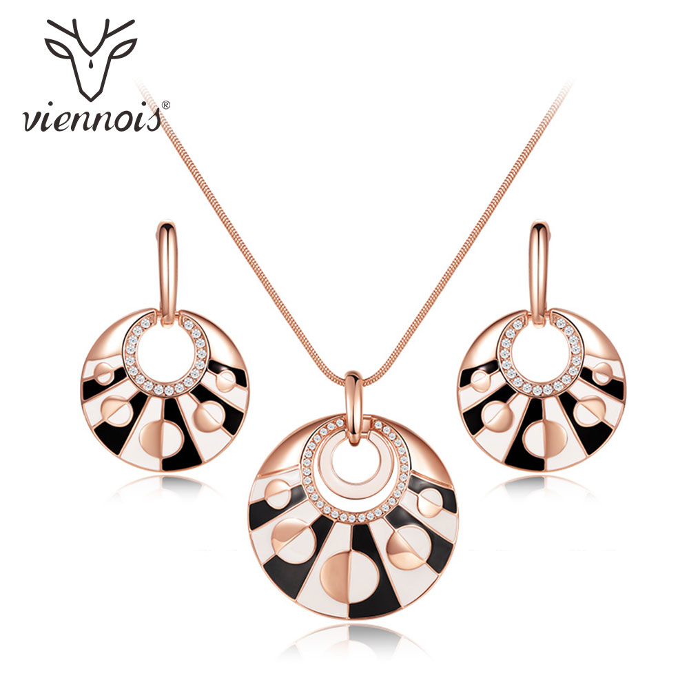 Viennois Rose Gold Color Round Jewelry Sets for Women Earrings Pendant Necklace Set Black and White Jewelry viennois new blue crystal fashion rhinestone pendant earrings ring bracelet and long necklace sets for women jewelry sets