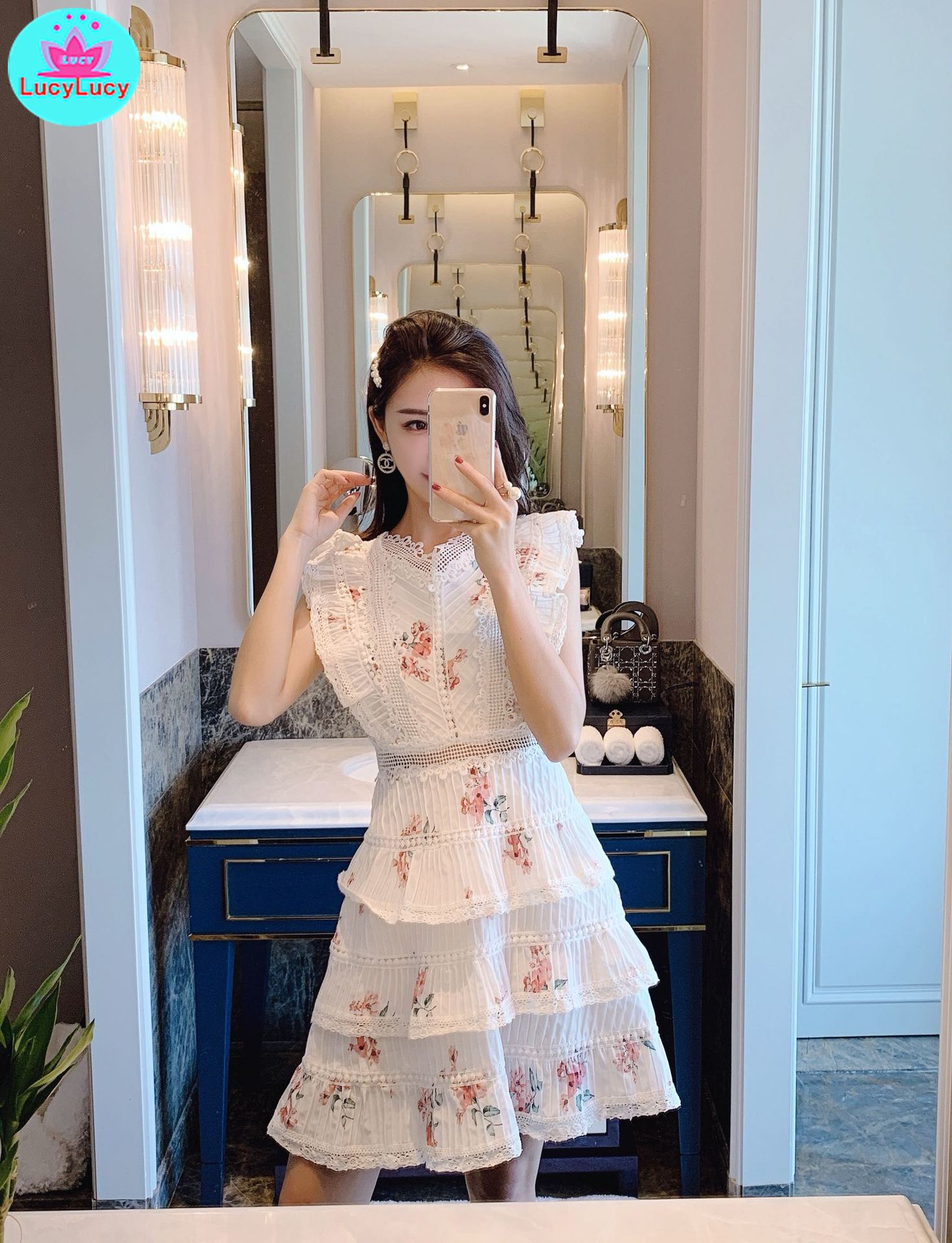 2019 New Net Red Printed Lace Lotus Leaf Holiday Dress Knee-Length Tank Sleeveless Sheath Office Lady