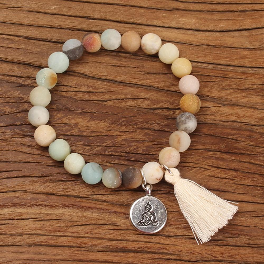 Natural Stone Lotus Buddha Charm Mala Bracelet with Tassel Turkoois Beads Bracelets Bangles Women Yoga Prayer Bracelet Buddhist