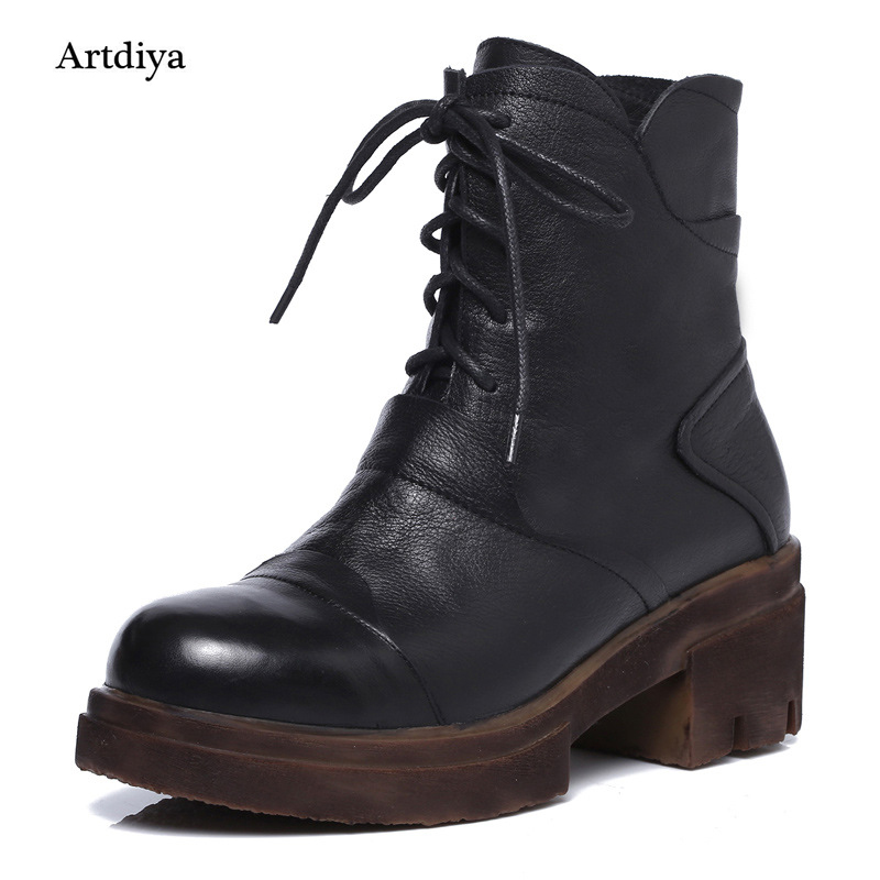 Artdiya 2018 Winter New Martin Genuine Leather Shoes Lace Up Boots Handmade Female Simple All-Match Ankle Boots 230-31