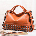 New Rivet Women Leather Handbags Vintage Woman Bags Bag Handbag Fashion Handbags Women Shoulder Bags Leather Pu Tote Bag Q0