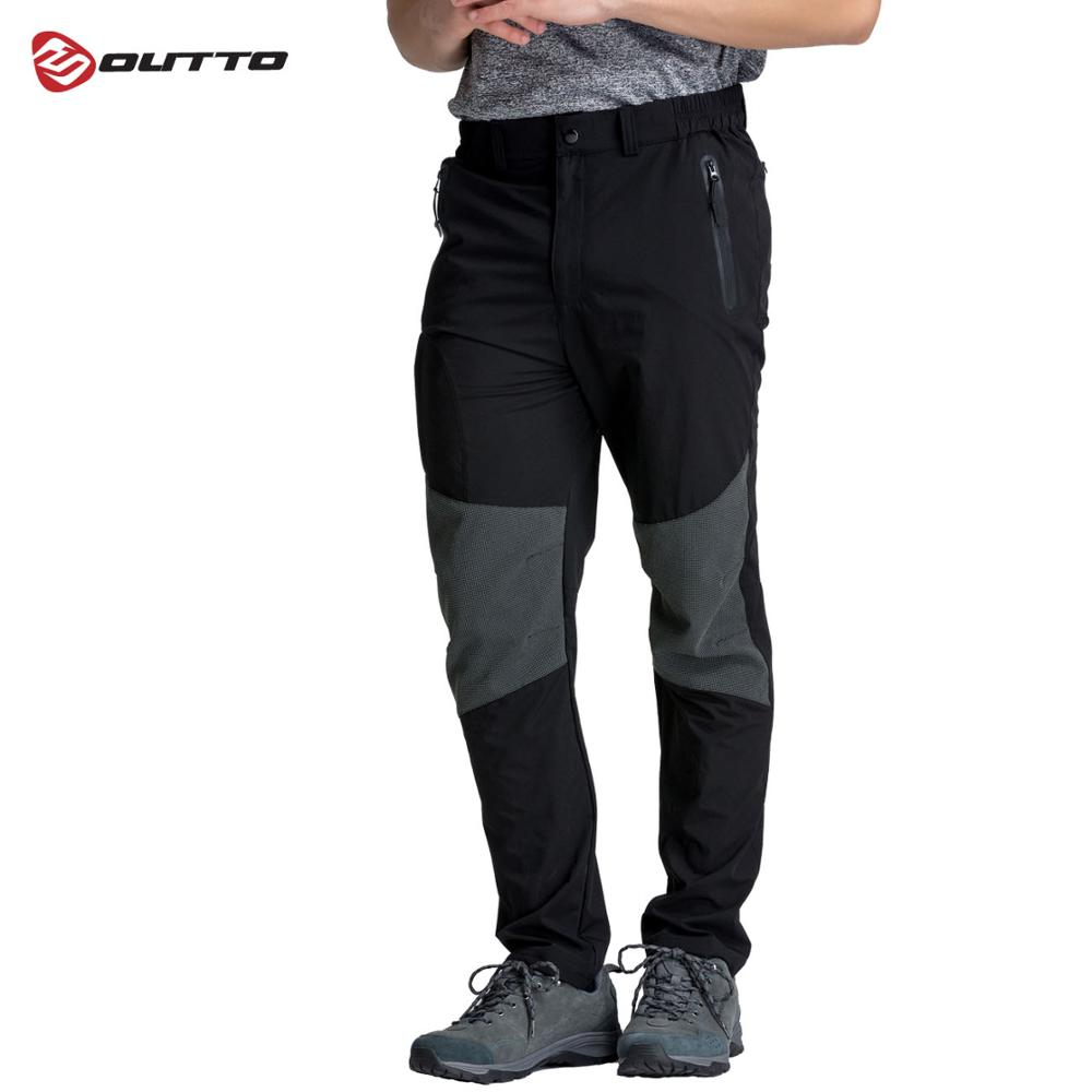 Outto Men s Cycling Pants Breathable Soft Bicycle Elastic Waist Pants Spring Autumn Bike Long Hiking