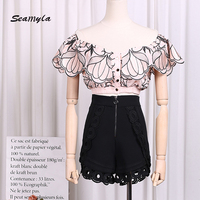 Seamyla High Quality Designer Runway Tops Women New Fashion Slash Neck Ruffle Embroidery Crop Top Sexy