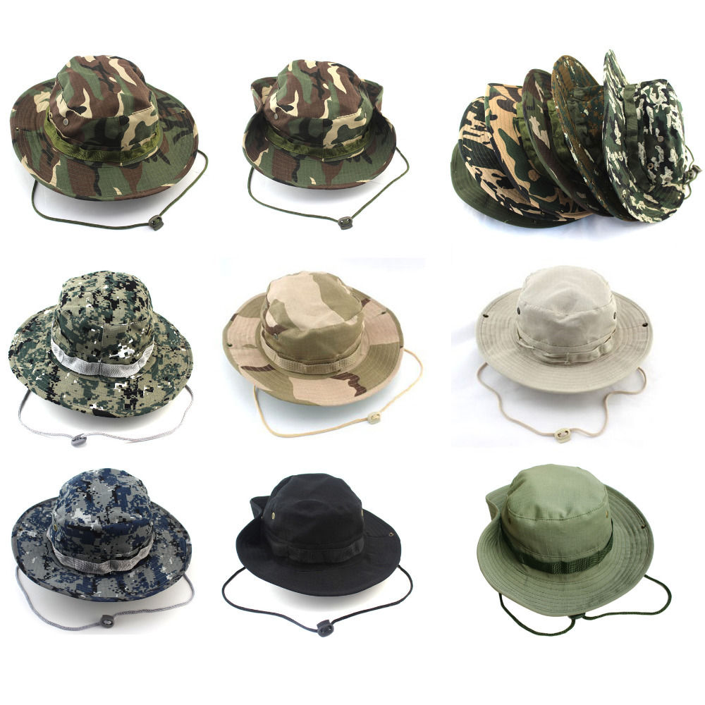 19 Colors 2015 Hot Sale Summer Men Military Camo Bucket Hat with Strings Camping Hiking Travel Sniper Wide Brim Boonie Hat
