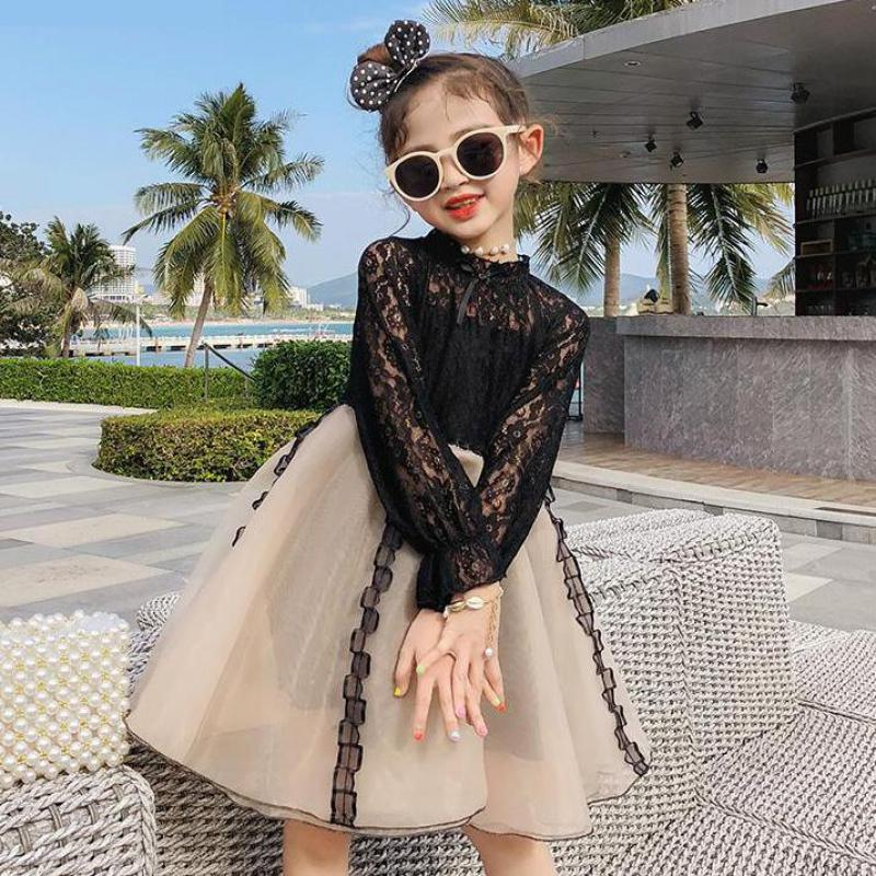 2019 New Kids Dresses For Girls Long Sleeve Princess Dress Birthday Party Summer Tutu Tulle Lace Dress Fashion Robe De Fille