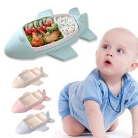 Baby Food Containers Bamboo Fiber Infant training dishes Baby feeding Set Airplane shape Bowl Cup Plates Sets Children Tableware
