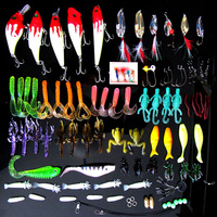 100Pcs Kinds Of Fishing Lures Crankbaits Hooks Set Minnow Bass Baits Tackle With Storage Box