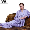 VA Emulation Silk Satin Women Pajamas Summer Style Sleepwear Fashion Purple Underwear 2016 New Two Piece Set Pyjama Femme W00896