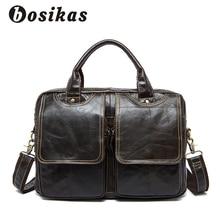 BOSIKAS Laptop Bag Men Briefcase Business Travel Briefcase Handbag Messenger Fashion Shoulder Laptop Bags Genuine Leather Bag