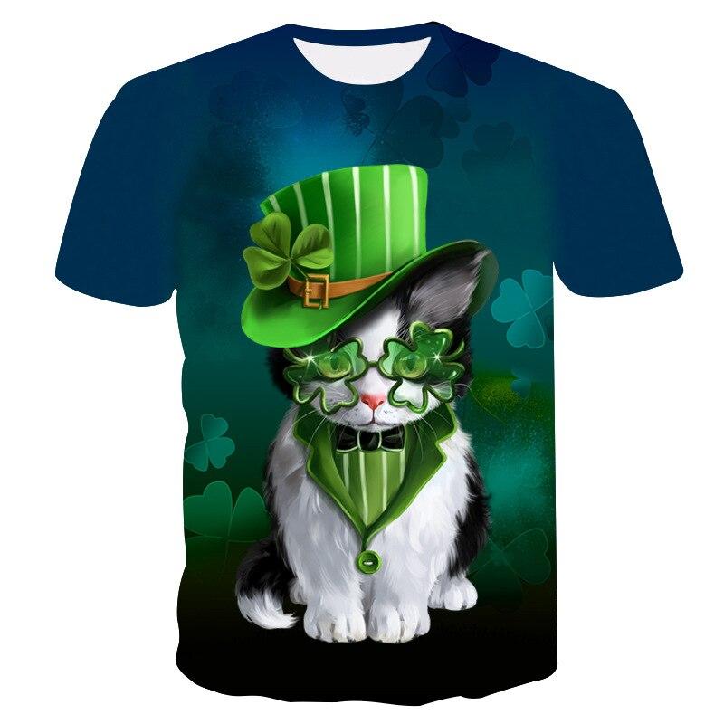 Summer 2018 short sleeve print T-shirt for men and women, 3D cartoon cat T-shirt for men Asian size s-6xl