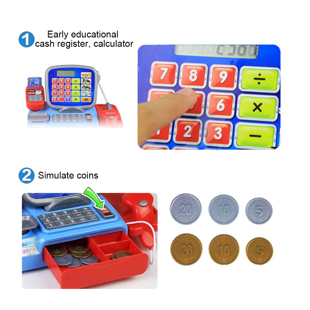 Cash Register with Scanner Weighing Scale Electronic Educational Toy Multi-functional Play Toy For Kid Real Calculator Toys P15 Multan