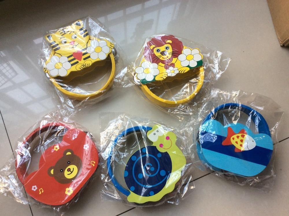дитячі дерев'яні мультфільм брязкальця іграшки / діти дитини тварин деревини музика інструментальні брязкальця з кільцями для новонародженої дитячої освітньої іграшки