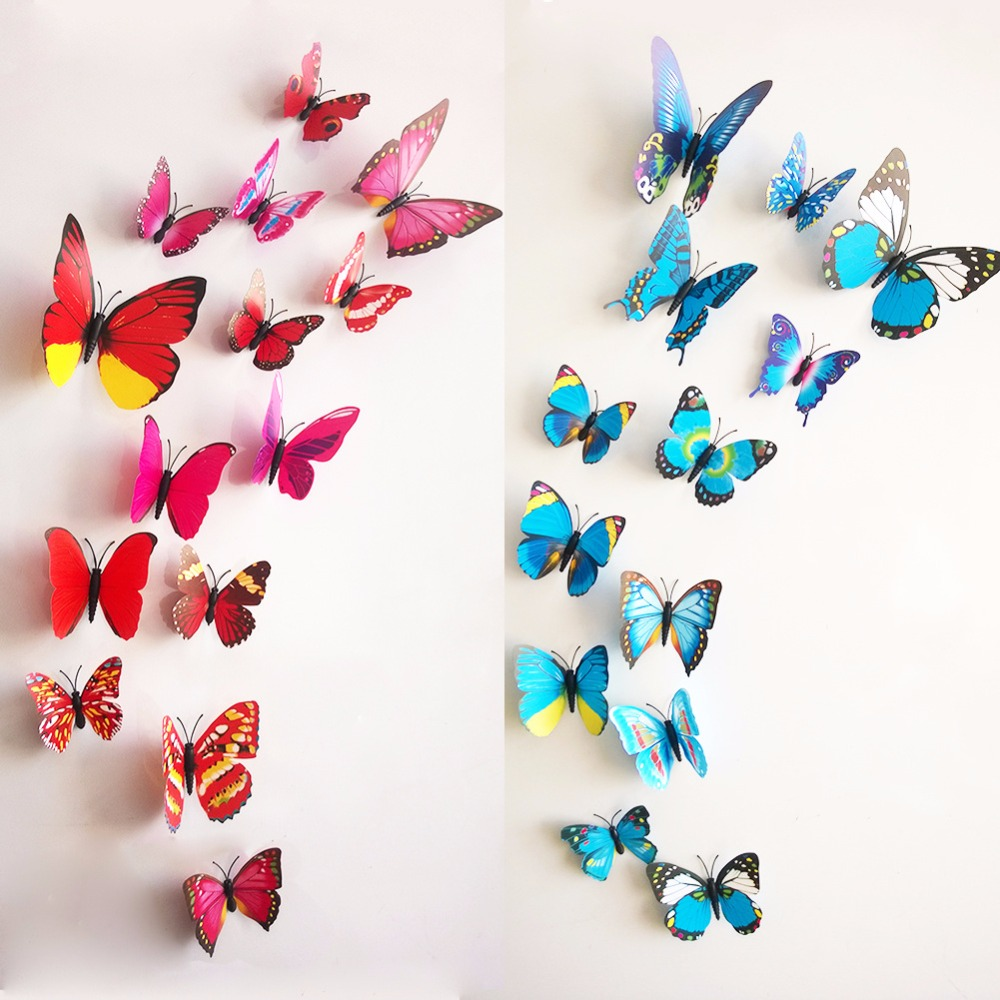 % Free shipping 12pcs PVC 3d Butterfly wall decor cute Butterflies wall stickers art Decals home Decoration kids room bedroom