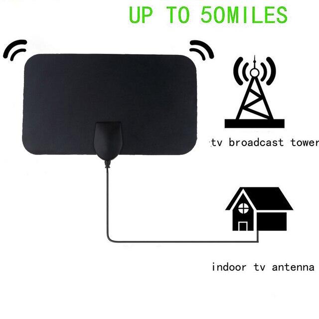 kebidumei High Quality 4K 25dB High Gain HD TV DTV Box Digital TV Antenna 50 Miles Booster Active Indoor Aerial HD Flat Design 3
