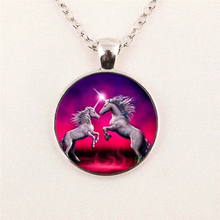 New Fashion Carousel Horse Necklace Merry Go Round Chain Glass Picture Pendant Handmade Neckalce HZ1