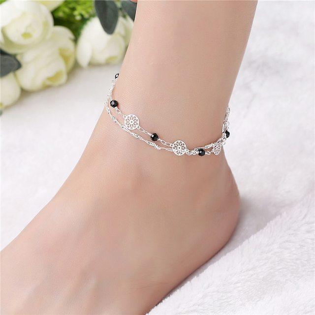 7b2d08548dd Bohemia Trendy Charm Ankle Bracelet Hollow Flower 925 Silver Chain Anklet  Foot Chain Bracelets Foot Jewelry Barefoot Beach 2B160
