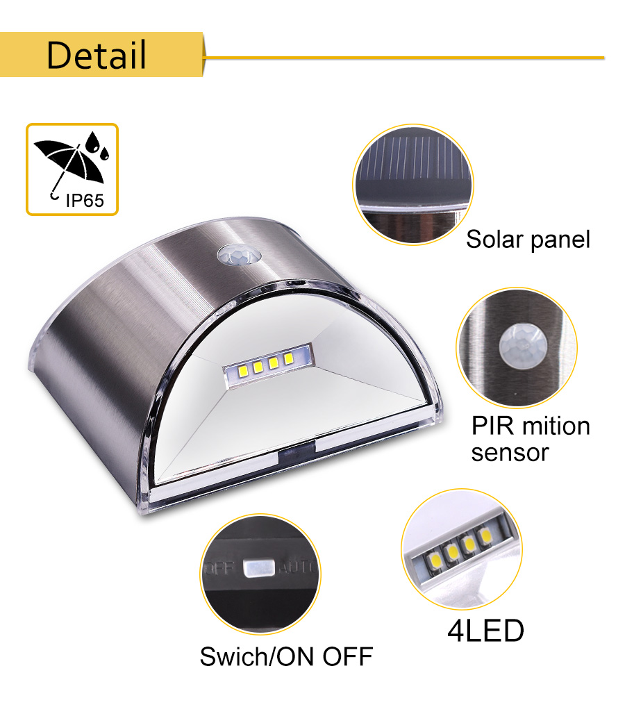 Waterproof Solar Outdoor Light with 4 LED and Motion Sensor Powered by Sunlight for Garden and Garage 8