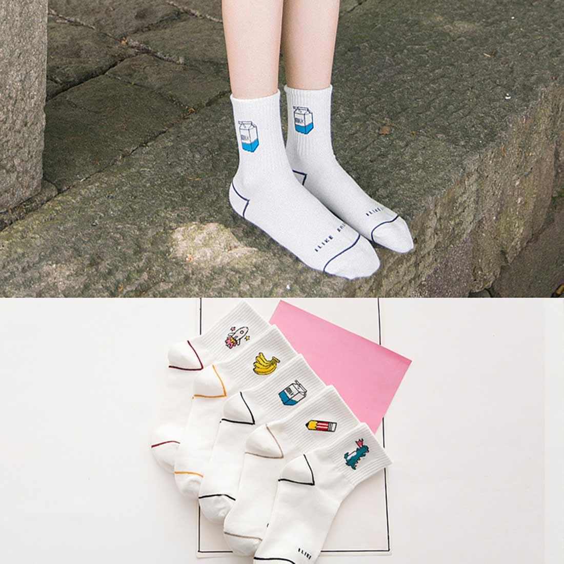 Cute Cartoon Letter Women Socks Milk Banana Rocket Pencil Harajuku Cotton Funny Crew with Gift