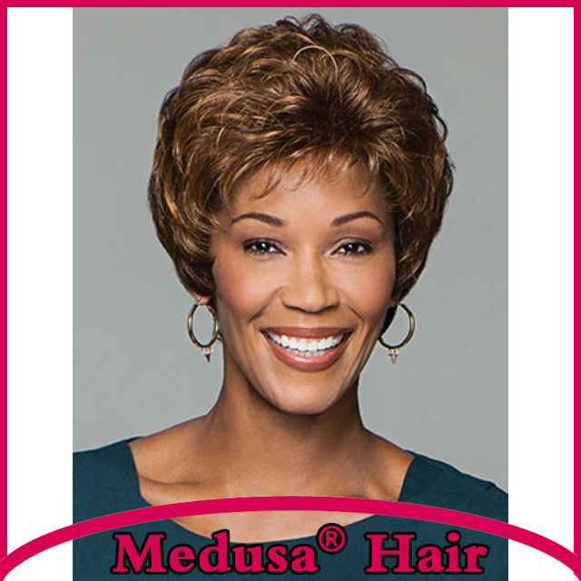 Medusa hair products: Free shipping Synthetic pastel wigs for women Short shag styles curly Mix color wig with bangs SW0092B