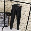 Plus Size Xl-5XL Topjini Marca Calças Elasticidade Moda Feminina Era Magro PU Calças De Couro Das Mulheres Mais Lápis de Veludo Calças Compridas