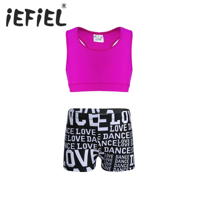 iEFiEL Kids Girls Sequins Dance Crop Top Sports Yoga Bra Ballet Dance Costume Gymnastics Tank Tops Leotard Dancewear