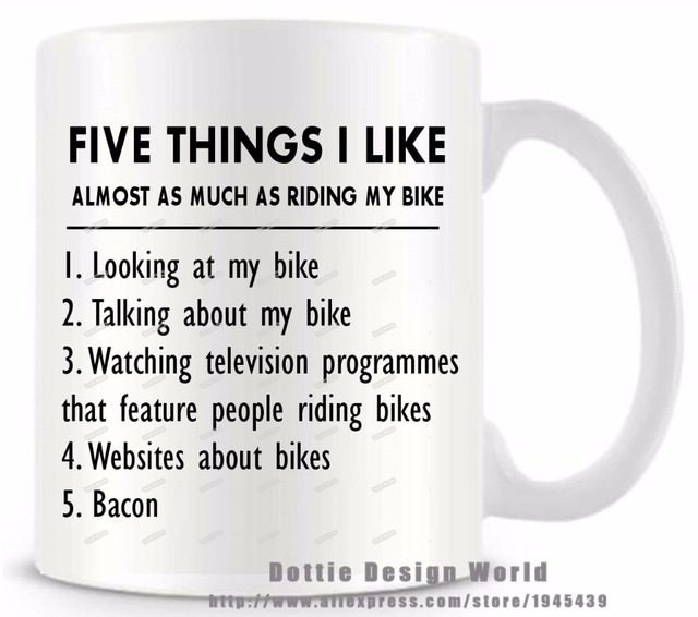 Five things i like bike funny novelty travel mug ceramic white five things i like bike funny novelty travel mug ceramic white coffee tea milk cup negle Choice Image