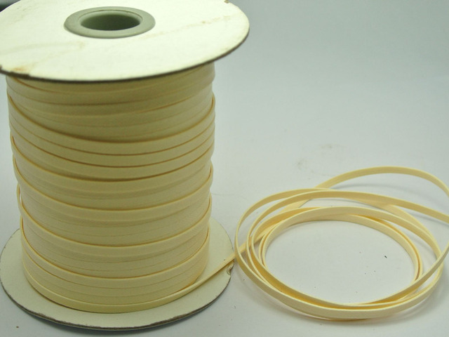 100 Yards Ivory FLAT Korean Waxed Cord Craft Lace String Thread 4mm